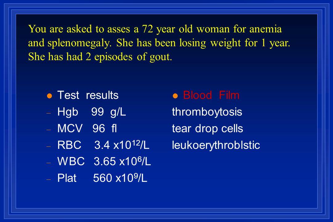 l Test results  Hgb 99 g/L  MCV 96 fl  RBC 3.4 x10 12 /L  WBC 3.65 x10 6 /L  Plat 560 x10 9 /L l Blood Film thromboytosis tear drop cells leukoer