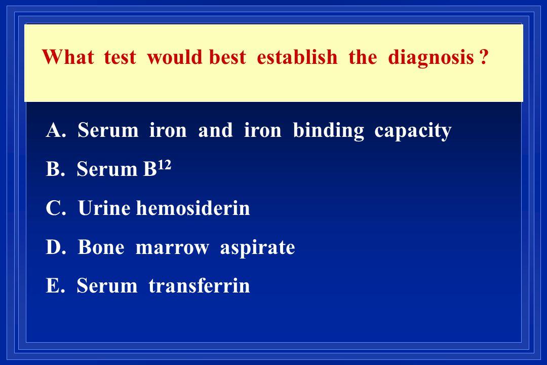 What test would best establish the diagnosis ? A. Serum iron and iron binding capacity B. Serum B 12 C. Urine hemosiderin D. Bone marrow aspirate E. S