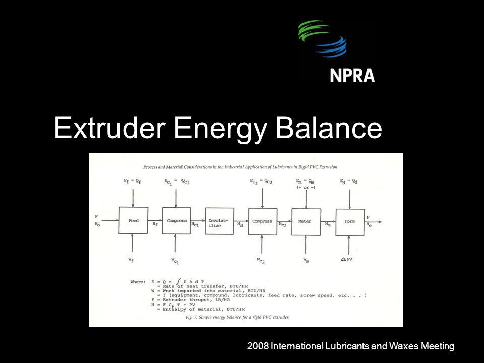 Extruder Energy Balance 2008 International Lubricants and Waxes Meeting