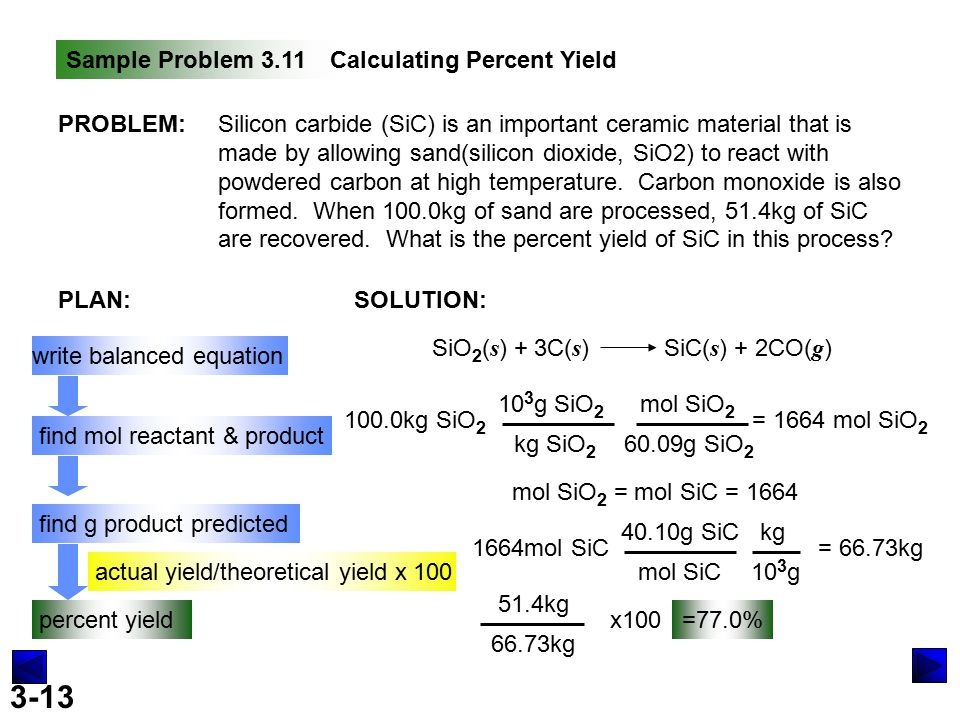 3-13 Sample Problem 3.11Calculating Percent Yield PROBLEM:Silicon carbide (SiC) is an important ceramic material that is made by allowing sand(silicon dioxide, SiO2) to react with powdered carbon at high temperature.
