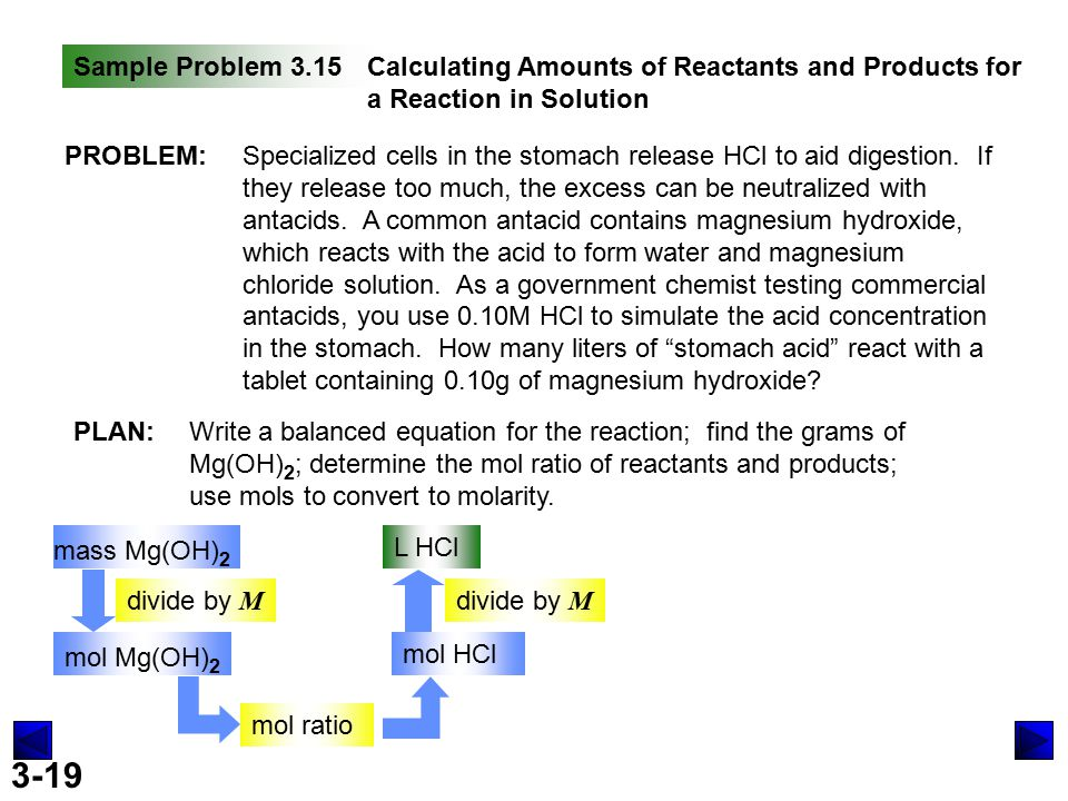3-19 Sample Problem 3.15Calculating Amounts of Reactants and Products for a Reaction in Solution PROBLEM:Specialized cells in the stomach release HCl to aid digestion.