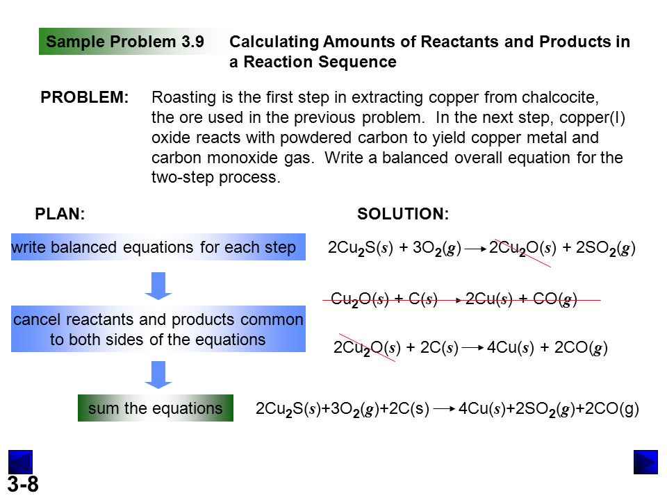 3-8 Sample Problem 3.9Calculating Amounts of Reactants and Products in a Reaction Sequence PROBLEM:Roasting is the first step in extracting copper from chalcocite, the ore used in the previous problem.