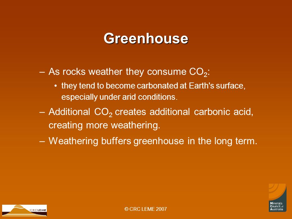 © CRC LEME 2007 Greenhouse –As rocks weather they consume CO 2 : they tend to become carbonated at Earth s surface, especially under arid conditions.