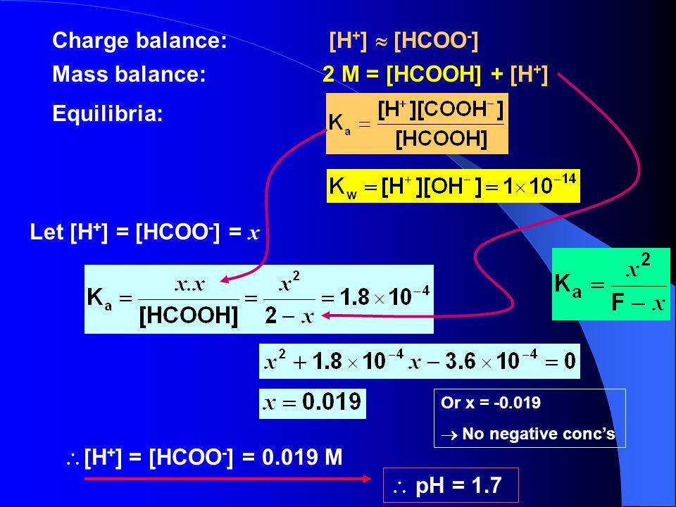  [H + ] = [HCOO - ] = 0.019 M Charge balance: [H + ]  [HCOO - ] Mass balance:2 M = [HCOOH] + [H + ] Equilibria: Let [H + ] = [HCOO - ] = x Or x = -0.019  No negative conc's  pH = 1.7