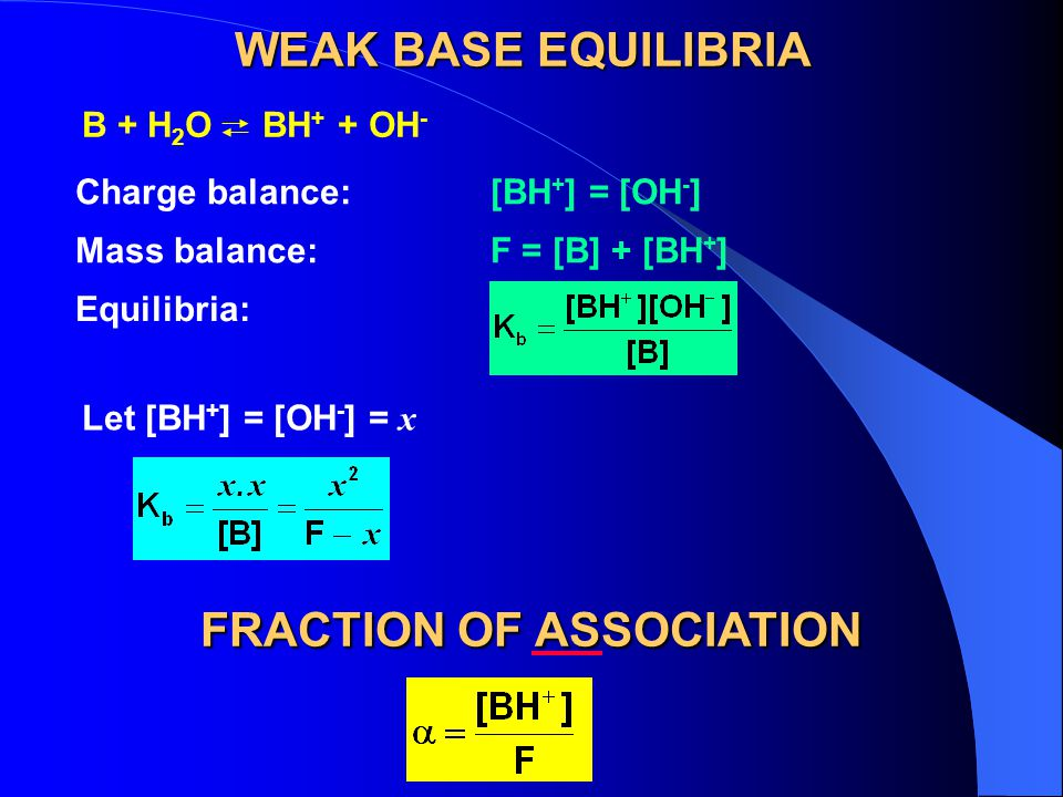 WEAK BASE EQUILIBRIA Charge balance:[BH + ] = [OH - ] Mass balance:F = [B] + [BH + ] Equilibria: Let [BH + ] = [OH - ] = x B + H 2 O BH + + OH - FRACTION OF ASSOCIATION