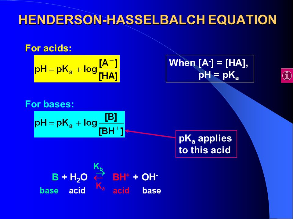 HENDERSON-HASSELBALCH EQUATION For acids: For bases: B + H 2 O BH + + OH - acidbaseacidbase   KaKa KbKb pK a applies to this acid When [A - ] = [HA], pH = pK a