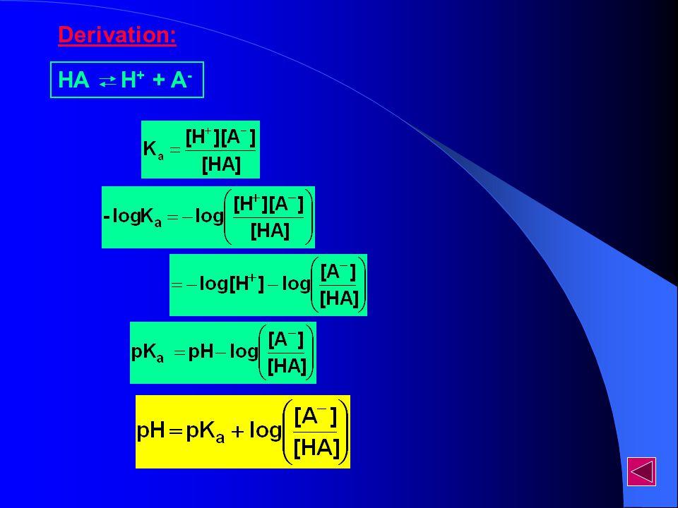 HA H + + A - Derivation: