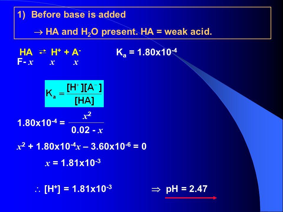 1)Before base is added  HA and H 2 O present.HA = weak acid.