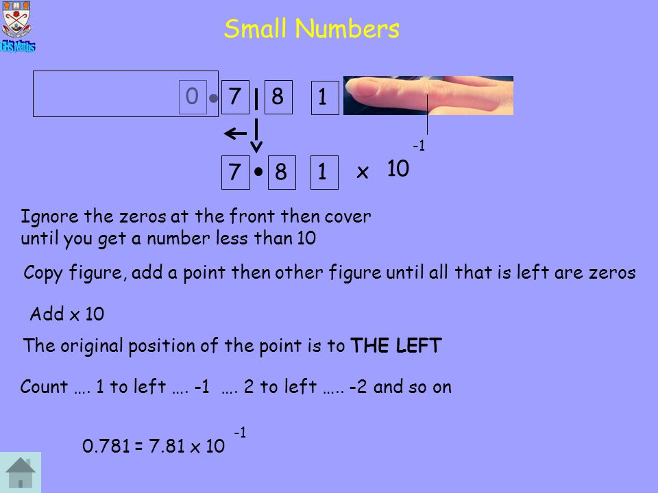 1 Small Numbers x 10 078 7 81 Ignore the zeros at the front then cover until you get a number less than 10 Copy figure, add a point then other figure