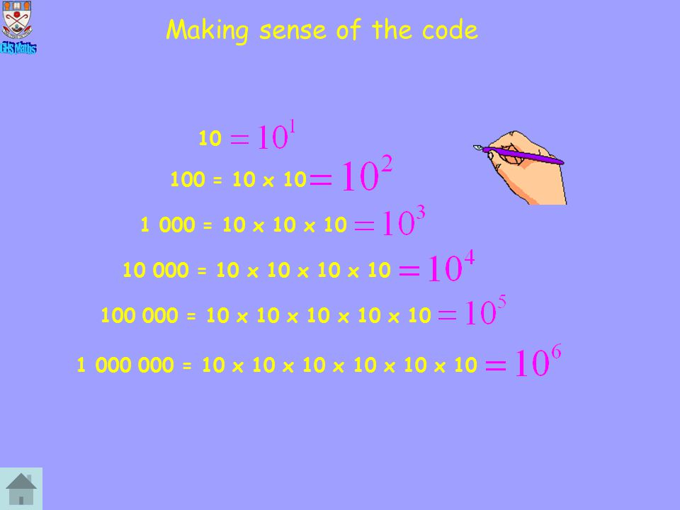 Not beginning with 1 200 = 2 x 10 x 10 4 000 = 4 x 10 x 10 x 10 70 000 = 7 x 10 x 10 x 10 x 10 3 000 000 = 3 x 10 x 10 x 10 x 10 x 10 x 10 This is also known as Scientific Notation.