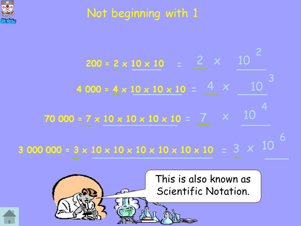 Not beginning with 1 200 = 2 x 10 x 10 4 000 = 4 x 10 x 10 x 10 70 000 = 7 x 10 x 10 x 10 x 10 3 000 000 = 3 x 10 x 10 x 10 x 10 x 10 x 10 This is als
