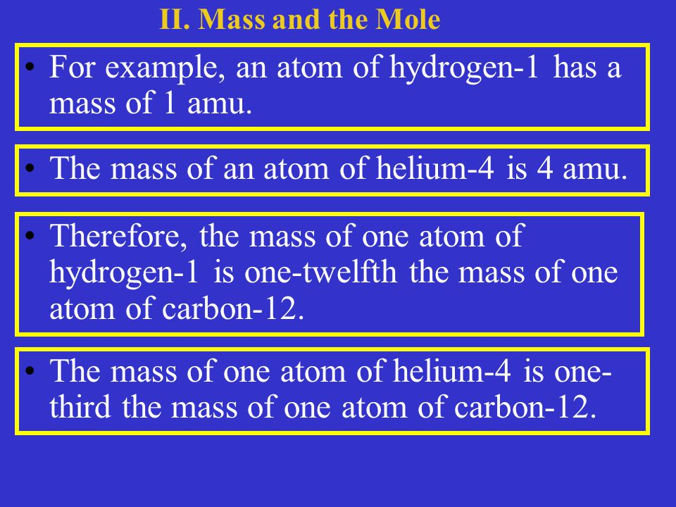For example, an atom of hydrogen-1 has a mass of 1 amu.
