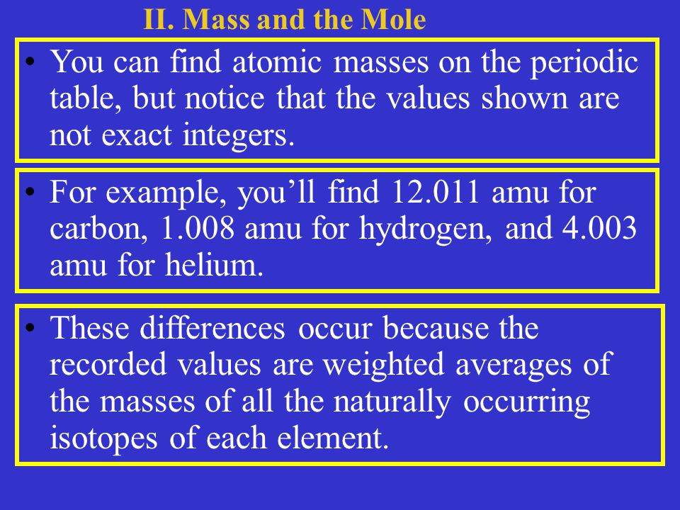 You can find atomic masses on the periodic table, but notice that the values shown are not exact integers.