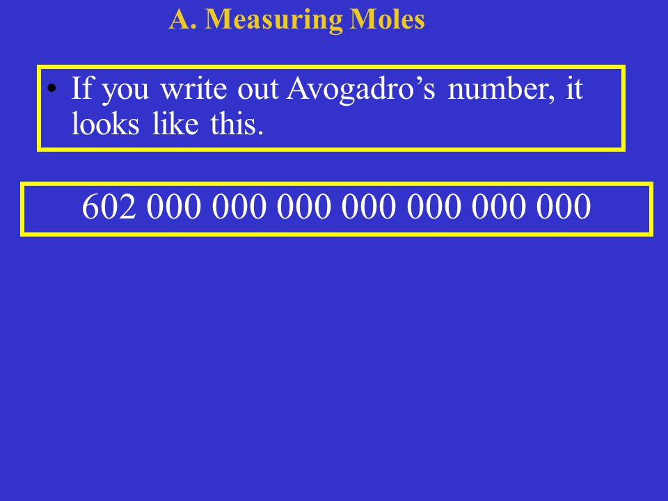 If you write out Avogadro's number, it looks like this.