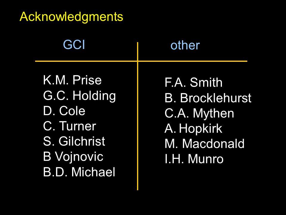 K.M. Prise G.C. Holding D. Cole C. Turner S. Gilchrist B Vojnovic B.D. Michael F.A. Smith B. Brocklehurst C.A. Mythen A.Hopkirk M. Macdonald I.H. Munr