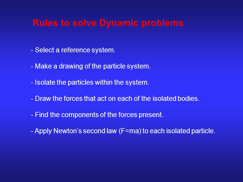 Rules to solve Dynamic problems - Select a reference system.