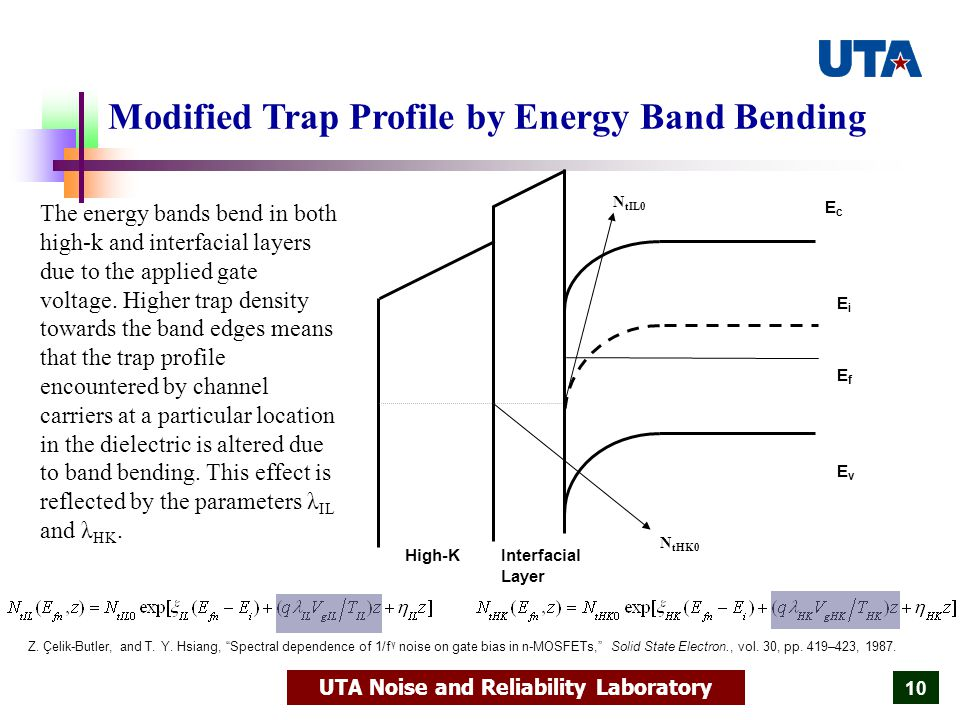 UTA Noise and Reliability Laboratory 10 Modified Trap Profile by Energy Band Bending The energy bands bend in both high-k and interfacial layers due to the applied gate voltage.