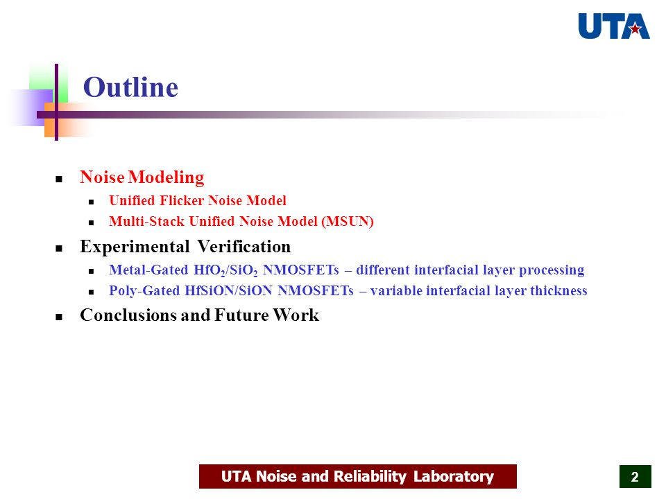 UTA Noise and Reliability Laboratory 33 Data Vs MSUN Model Predictions for LF Noise Spectra The calculated current noise spectral density S Id is compared to the data for devices with four different IL thicknesses and in the experimental temperature range of 172K-300K.