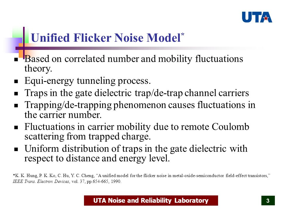 UTA Noise and Reliability Laboratory 24 Effective Oxide Trap Density vs.