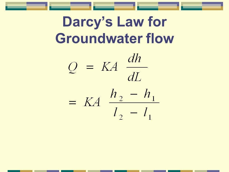 Darcy's Law Q = flow (horizontal) through the aquifer, m 3 /s K = coefficient of permeability, m/s A = cross-sectional area, m 2 h 2 – h 1 = head drop, m l 2 –l 1 = length difference, m