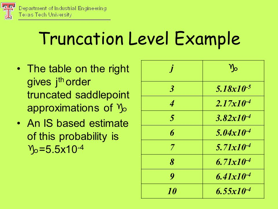 Truncation Level Example The table on the right gives j th order truncated saddlepoint approximations of  An IS based estimate of this probability is  =5.5x10 -4 j  35.18x10 -5 42.17x10 -4 53.82x10 -4 65.04x10 -4 75.71x10 -4 86.71x10 -4 96.41x10 -4 106.55x10 -4