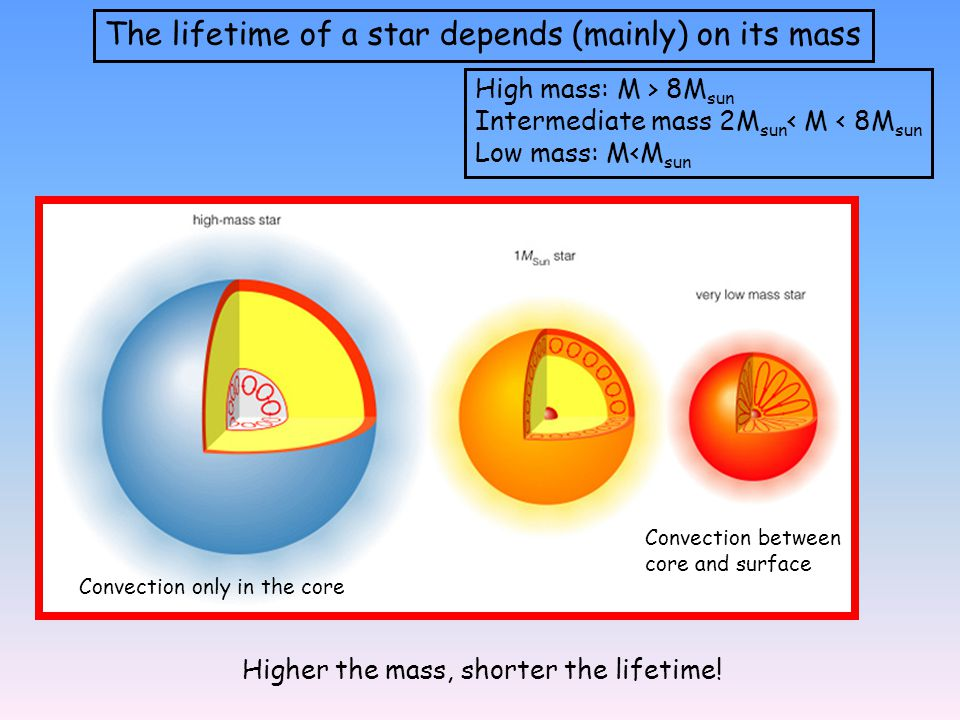 The lifetime of a star depends (mainly) on its mass Higher the mass, shorter the lifetime.