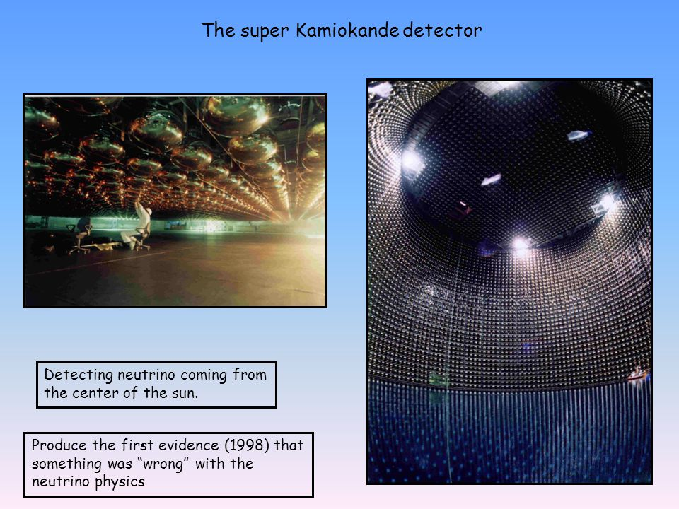 The super Kamiokande detector Detecting neutrino coming from the center of the sun.