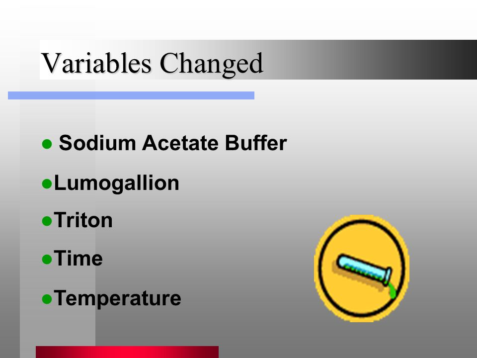 Variables Changed Sodium Acetate Buffer Time Triton Lumogallion Temperature