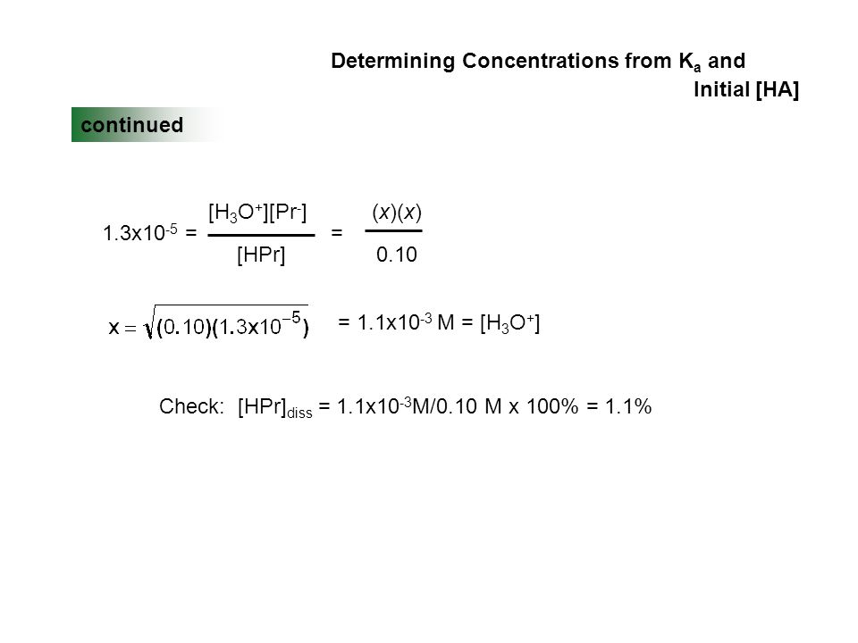 Determining Concentrations from K a and Initial [HA] continued (x)(x) 0.10 1.3x10 -5 = [H 3 O + ][Pr - ] [HPr] = = 1.1x10 -3 M = [H 3 O + ] Check: [HPr] diss = 1.1x10 -3 M/0.10 M x 100% = 1.1%