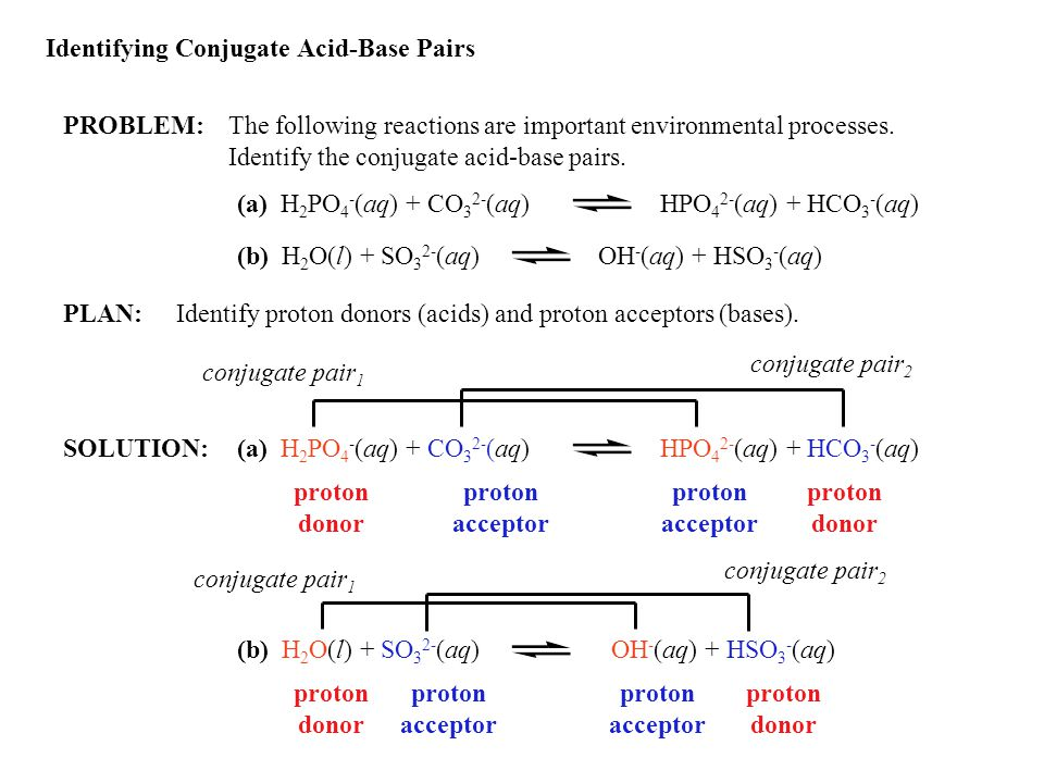 Identifying Conjugate Acid-Base Pairs PROBLEM:The following reactions are important environmental processes.