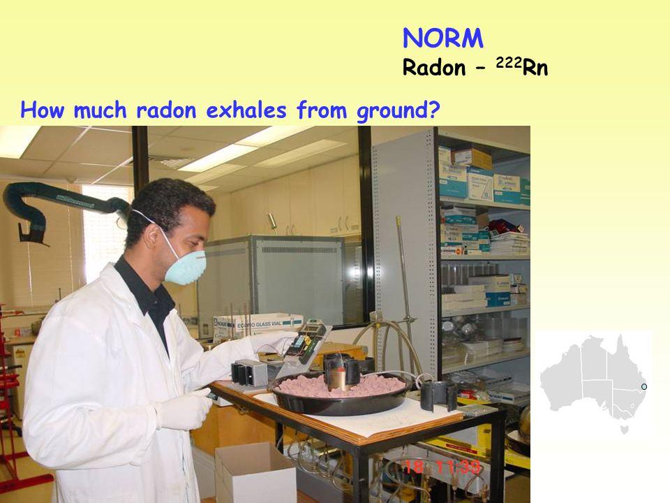 NORM Radon – 222 Rn How much radon exhales from ground? INSERT AFKAR HERE