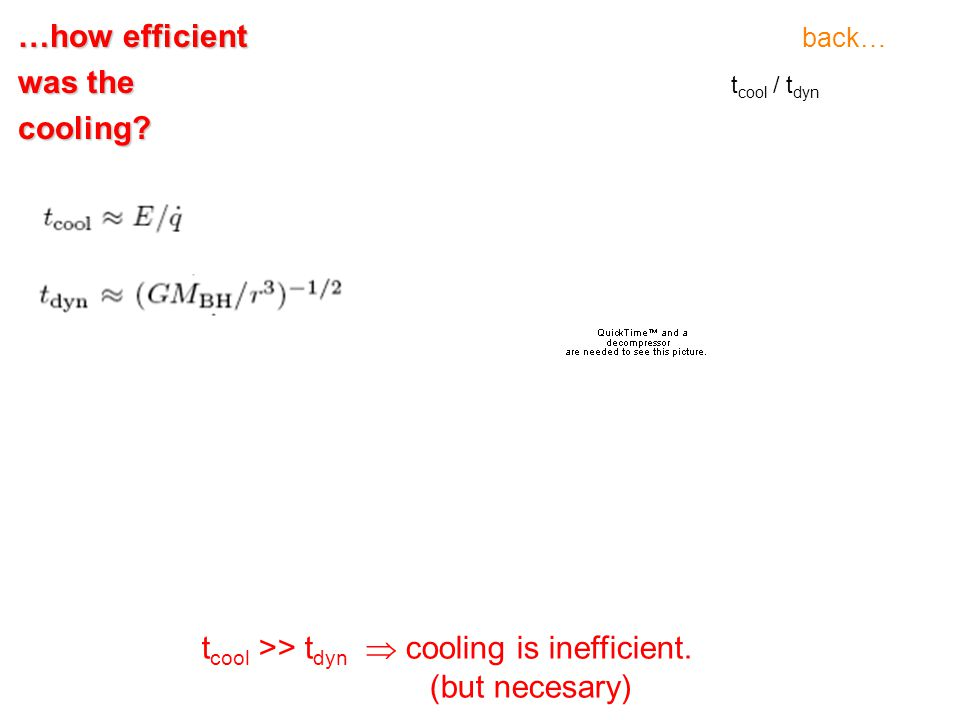 t cool / t dyn t cool >> t dyn  cooling is inefficient. (but necesary) …how efficient was the cooling? back…