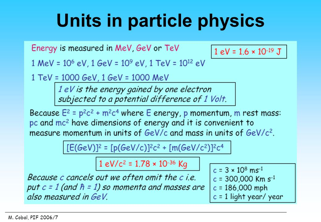 M. Cobal, PIF 2006/7 Units in particle physics