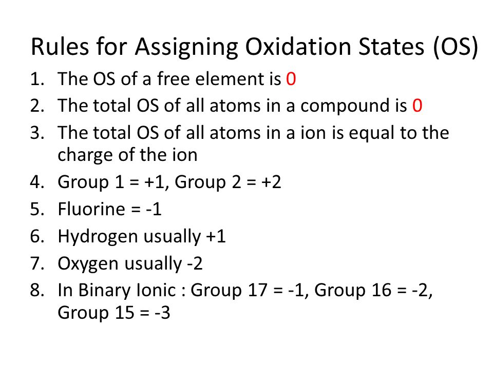 Rules for Assigning Oxidation States (OS) 1.The OS of a free element is 0 2.The total OS of all atoms in a compound is 0 3.The total OS of all atoms i