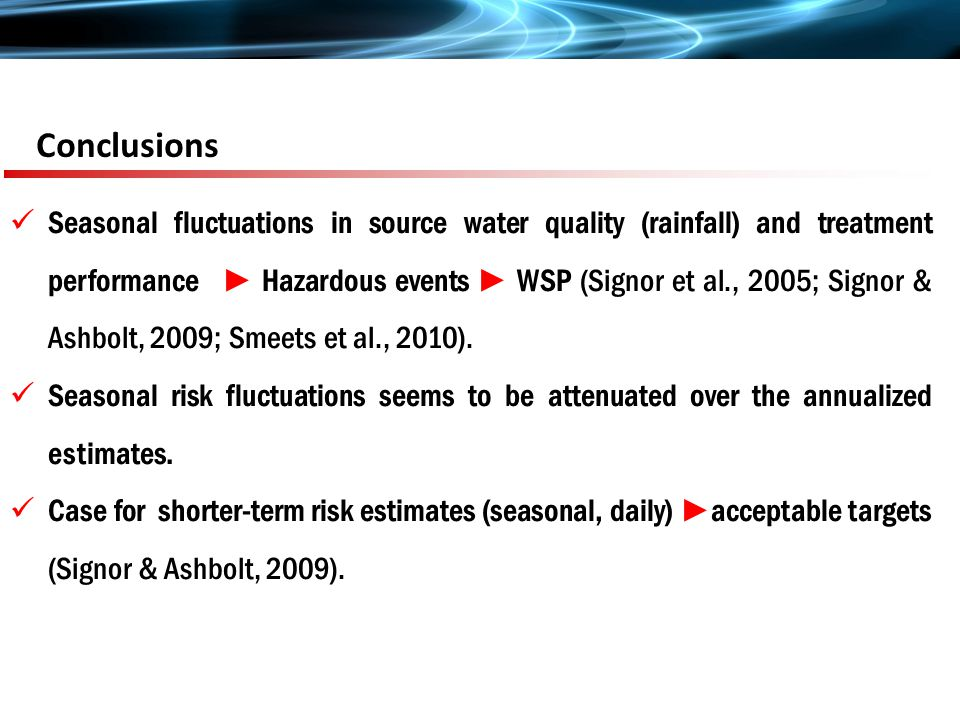 Conclusions Seasonal fluctuations in source water quality (rainfall) and treatment performance ► Hazardous events ► WSP (Signor et al., 2005; Signor & Ashbolt, 2009; Smeets et al., 2010).