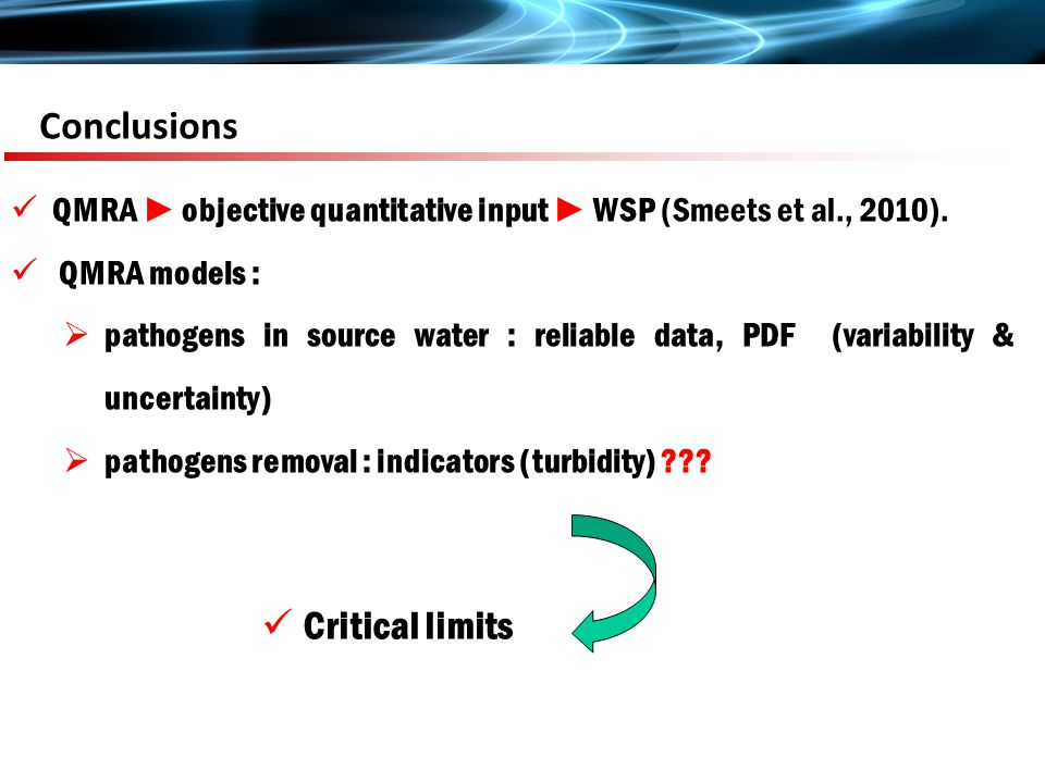 Conclusions QMRA ► objective quantitative input ► WSP (Smeets et al., 2010).