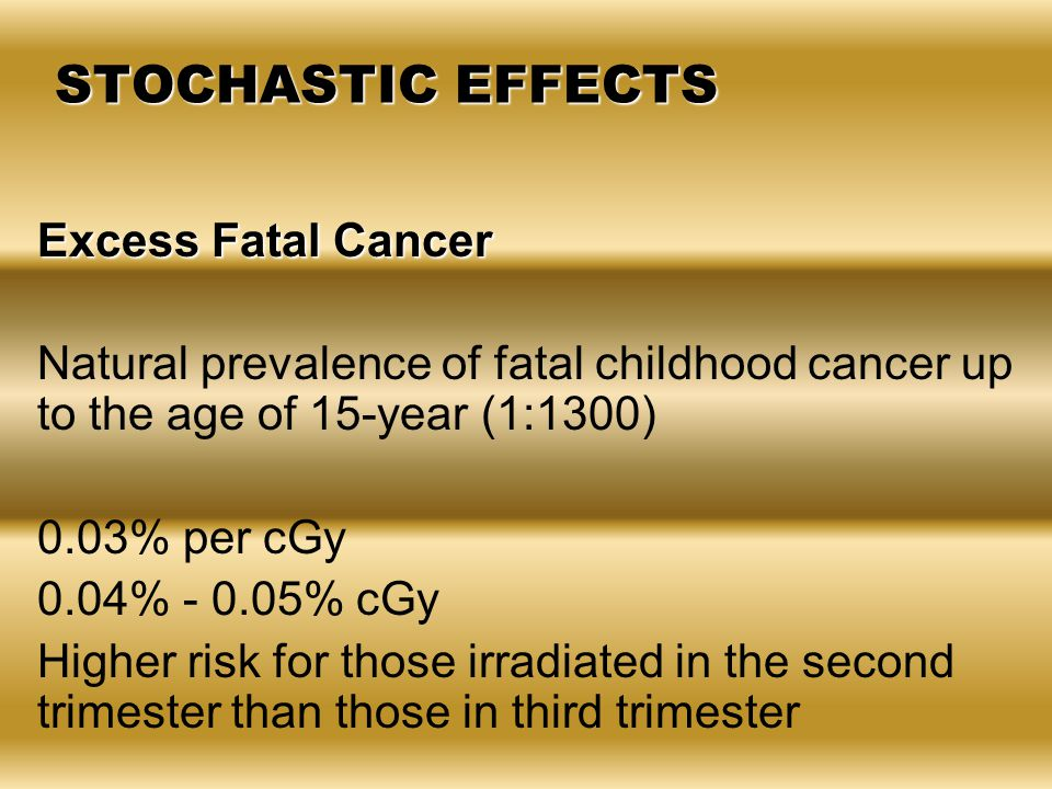 Excess Fatal Cancer Natural prevalence of fatal childhood cancer up to the age of 15-year (1:1300) 0.03% per cGy 0.04% - 0.05% cGy Higher risk for tho