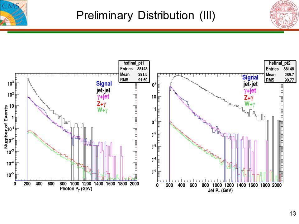 13 Preliminary Distribution (III)