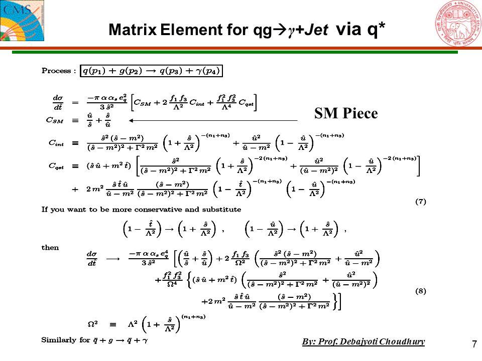 7 Matrix Element for qg  γ +Jet via q* SM Piece By: Prof. Debajyoti Choudhury