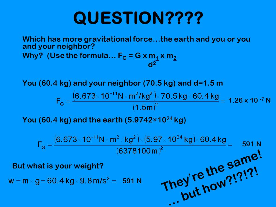 QUESTION???.Which has more gravitational force…the earth and you or you and your neighbor.