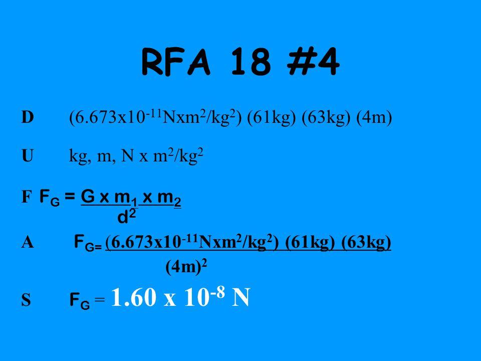RFA 18 #4 D (6.673x10 -11 Nxm 2 /kg 2 ) (61kg) (63kg) (4m) U kg, m, N x m 2 /kg 2 F F G = G x m 1 x m 2 d 2 A F G= (6.673x10 -11 Nxm 2 /kg 2 ) (61kg)