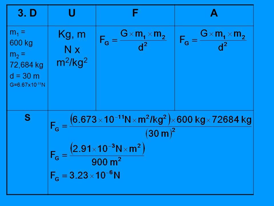 3. DUFA m 1 = 600 kg m 2 = 72,684 kg d = 30 m G=6.67x10 -11 N Kg, m N x m 2 /kg 2 S