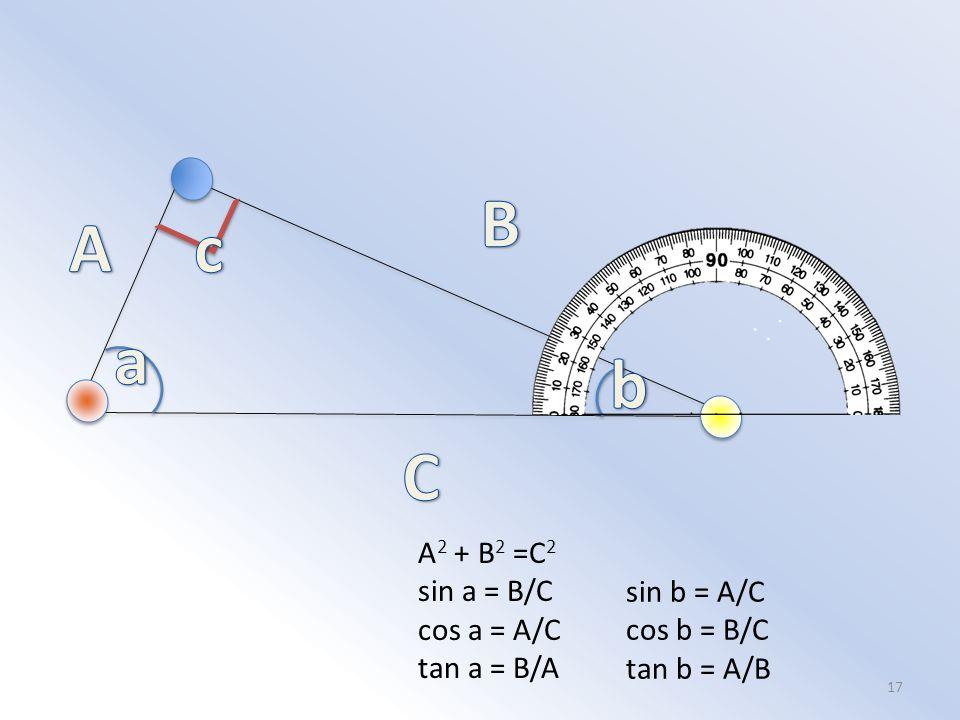 17 A 2 + B 2 =C 2 sin a = B/C cos a = A/C tan a = B/A sin b = A/C cos b = B/C tan b = A/B