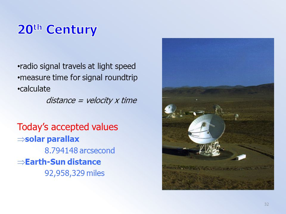 radio signal travels at light speed measure time for signal roundtrip calculate distance = velocity x time Today's accepted values  solar parallax 8.794148 arcsecond  Earth-Sun distance 92,958,329 miles 32