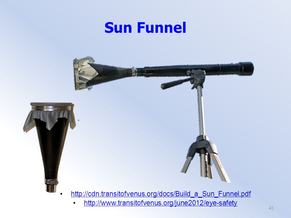 Sun Funnel 41 http://cdn.transitofvenus.org/docs/Build_a_Sun_Funnel.pdf http://www.transitofvenus.org/june2012/eye-safety