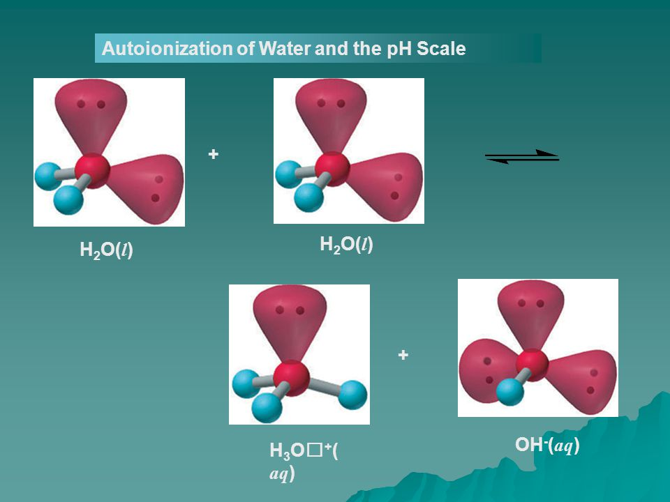 Autoionization of Water and the pH Scale H 2 O( l ) H 3 O + ( aq )OH - ( aq ) + +