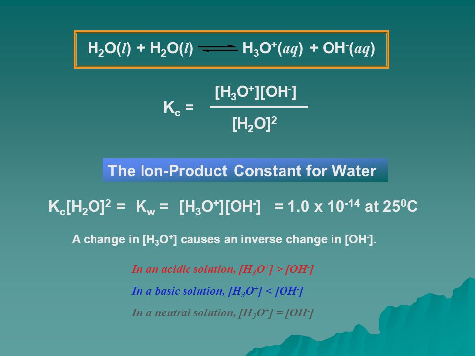 K c = [H 3 O + ][OH - ] [H 2 O] 2 K c [H 2 O] 2 =[H 3 O + ][OH - ] The Ion-Product Constant for Water K w = A change in [H 3 O + ] causes an inverse c