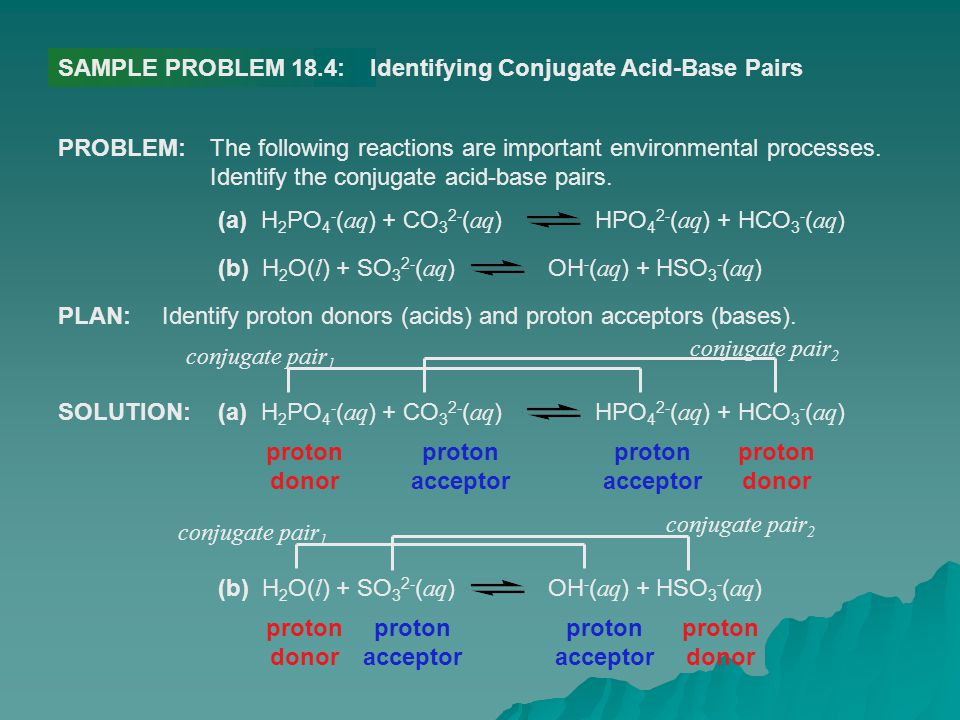 SAMPLE PROBLEM 18.4:Identifying Conjugate Acid-Base Pairs PROBLEM:The following reactions are important environmental processes. Identify the conjugat