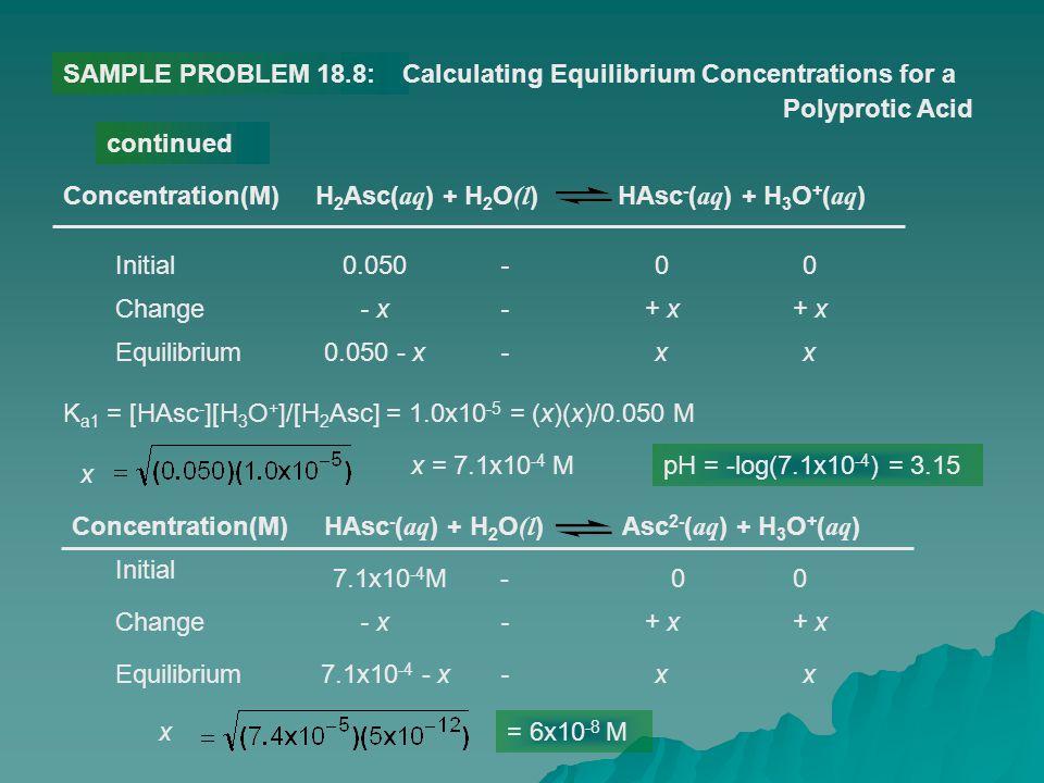- x-+ x SAMPLE PROBLEM 18.8:Calculating Equilibrium Concentrations for a Polyprotic Acid continued H 2 Asc( aq ) + H 2 O (l ) HAsc - ( aq ) + H 3 O +