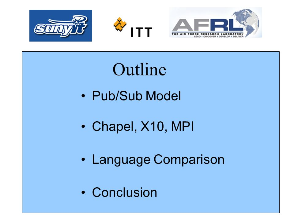 Pub/Sub Model Chapel, X10, MPI Language Comparison Conclusion Outline